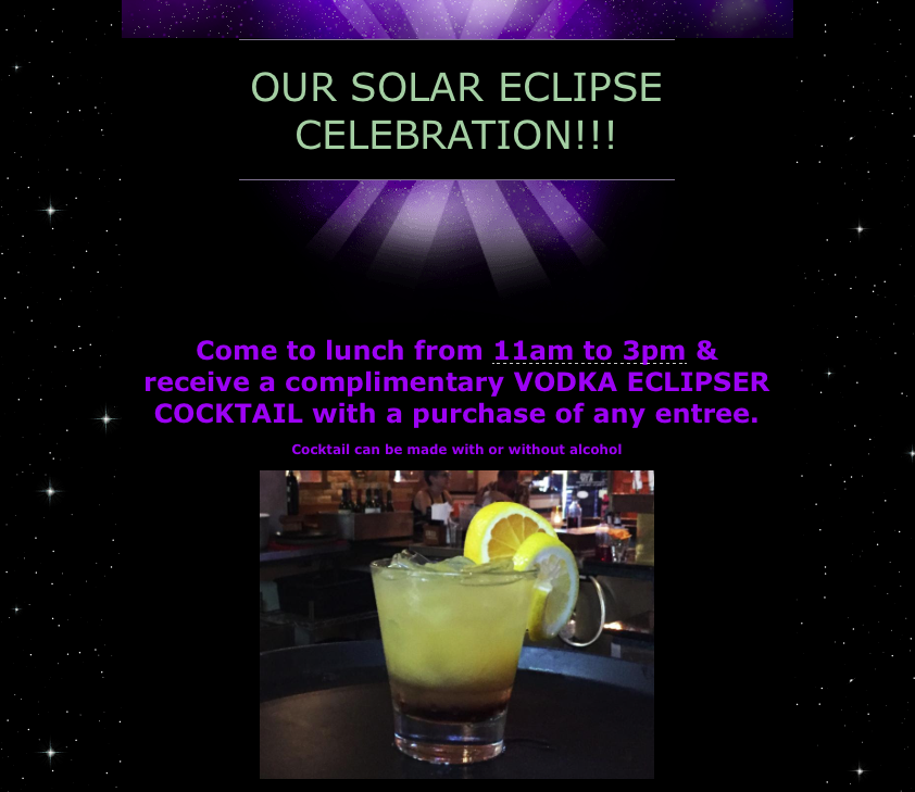 Marketing Strategic Promotion for Special Events - Solar Eclipse Celebration!